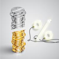 Realistische munten met neon percentage, vectorillustratie