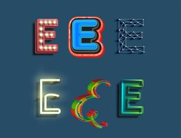 Een tekenset van 6 verschillende gestileerde lettertype, vector
