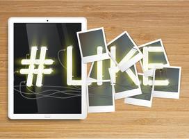 """Realistische tablet met neon """"#like"""" en fotolijsten, vector"""