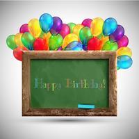 Blackboard met kleurrijke ballonnen, vector