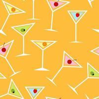 naadloos achtergrondpatroon van alcoholisch cocktailglas vector