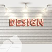 Witte bakstenen muur met reflectors, vector