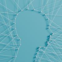 Realistische illustratie van een hoofd gemaakt door pinnen en snaren, vector