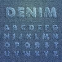 Tekenset gemaakt door denim, van een lettertype, vector