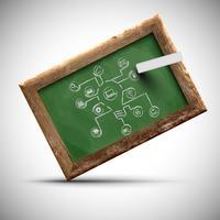 Blackboard met office tekenen, vector