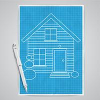 Realistisch huis met een blauwdruk, vector