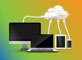 Apparaten verbinden zich met de cloud vector