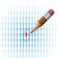 Zoeken naar baan / werknemer met een potlood