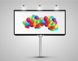 Billboard met ballonnen, vectorillustratie vector