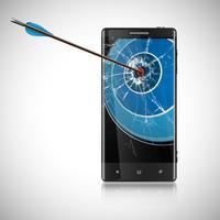 Een pijl en een mobiele telefoon, vector
