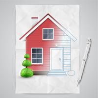 Realistisch huis dat wordt getrokken, vector