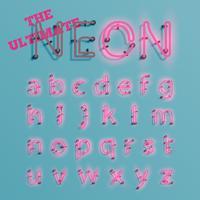Realistisch roze gezet neonkarakter, vector