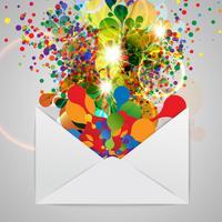 Een envelop met een kleurrijke abstracte illustratie, vector