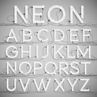 Realistisch neonalfabet met draden (UIT), vector