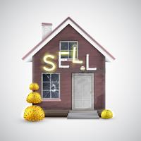 Een oud huis om te verkopen, vector