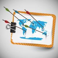 Wereldkaart met pijlen, vector
