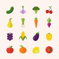 Plat gezond voedsel pictogrammen vector
