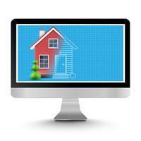 Realistisch huis met een blauwdruk op een computer, vector