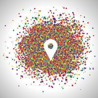 Speld door kleurrijke punten, vector wordt gemaakt die