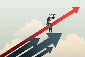 zakenman permanent op zoek naar kansen doel op pijl. vector
