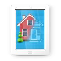Realistisch huis met een blauwdruk op een tablet, vector