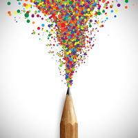 Een potlood met kleurrijke vormen, vector