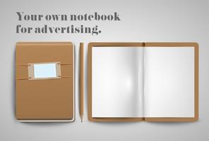 Een notitieboekje en een potlood, vector