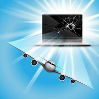 Vliegtuig vliegt uit het scherm vector