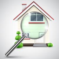Huis met een vergrootglas, vector