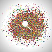 Vergrootglas gemaakt door kleurrijke stippen, vector