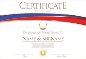 Certificaat of diploma Rusland vlag ontwerp vector