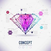 Abstracte vormverbindingen van de compositie en facetten van de diamant,