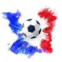 Voetbalbal en Waterverfinkt. Vector isoleer voetbalconcept.