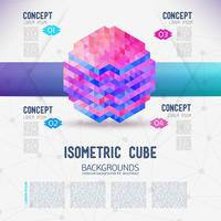 Abstracte concept isometrische kubus, verzameld uit de driehoekige vormen. vector