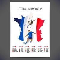 Ondertekent voetbalkampioenschap met speler en bal op kaart achtergrond vector