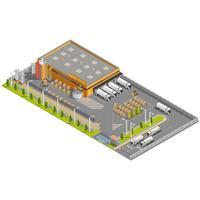 Isometrisch magazijn met laad- en losgebied vector