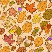 Naadloze kleuren wilde elementen van de natuur, paddenstoelen, knoppen, planten, eikels, bladeren.
