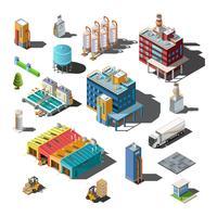 Isometrische composities van industriële onderwerpen vector