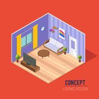 Conceptkamer 3d, een woonkamer met een bank en een tv, een woonkamer met een raam en deurgordijnen