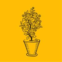Afbeelding geldboom in een pot. Eenvoudige tekeninglijnen. vector