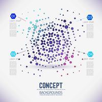 Abstract concept geometrisch rooster, het werkingsgebied van molecules, in de ronde. vector