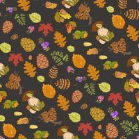 Naadloze kleuren wilde elementen van de natuur, paddenstoelen, knoppen, planten, eikels, bladeren