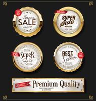 Retro vintage glanzende gouden labels-collectie vector
