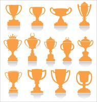 Sporttrofeeën en onderscheidingen retro-collectie vector