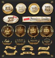 Retro gouden linten labels en schilden vector-collectie vector