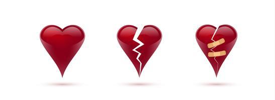 Gebroken harten vector set van realistische pictogrammen en symbolen. Geïsoleerd op witte achtergrond. Vector illustratie
