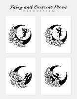 set van fee en wassende maan illustratie vector
