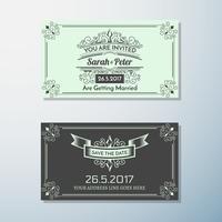 Huwelijksuitnodiging Vintage flyer achtergrond ontwerpsjabloon