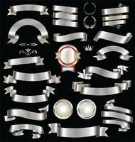 Retro zilveren linten, insignes en labels vector