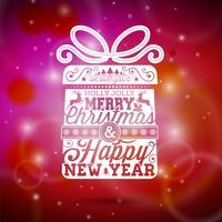 Vector Merry Christmas-illustratie met typografisch ontwerp op glanzende rode achtergrond